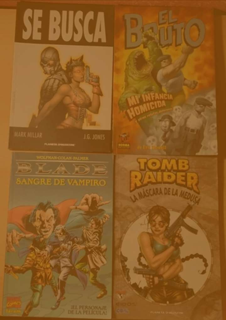 Imagen Pack 4 tomos de cómics variados. Se busca. El bruto: mi infancia homicida y otros relatos dolorosos. Tomb raider: La máscara de la medusa. Blade: Sangre de vampiro.