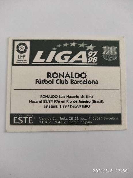 Imagen producto Cromo Ronaldo Liga Este 97/98 2
