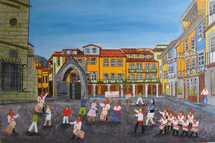 Imagen Os nicolinos - festa de são nicolau - guimarães - 40x60 Pintura de a. Almeida
