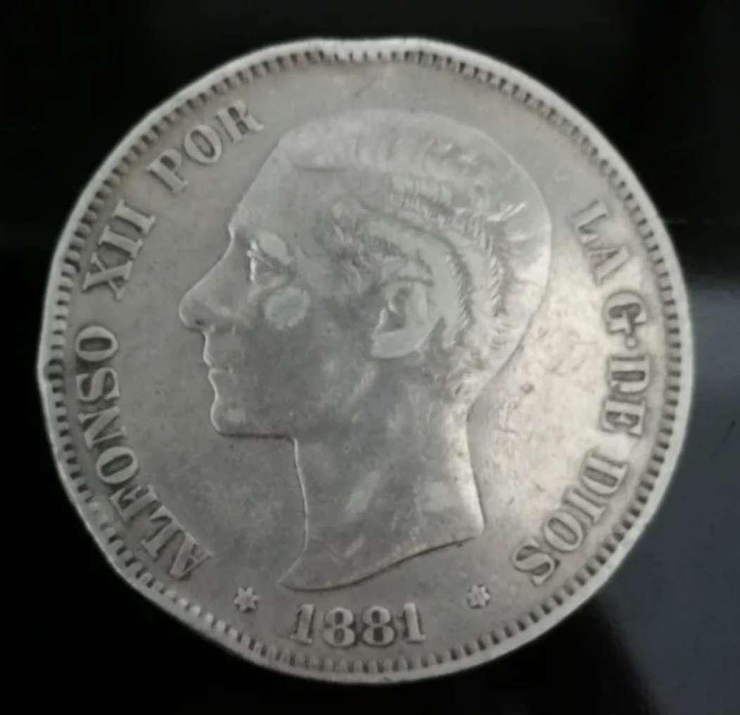 Imagen España 5 pesetas plata Alfonso XII 1881