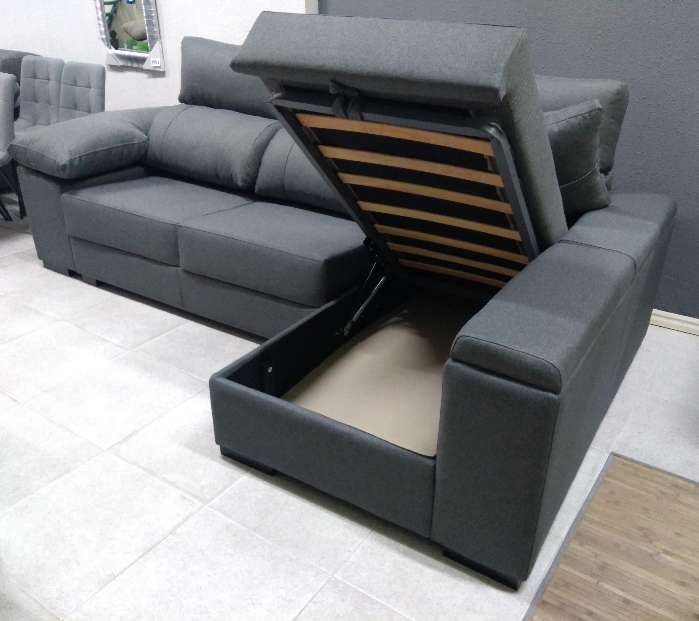 Imagen sofá chaiselongue arcón gris oscuro