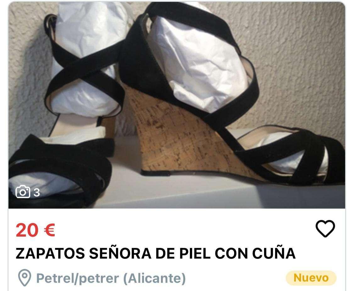 Imagen zapatos señora de piel con cuña