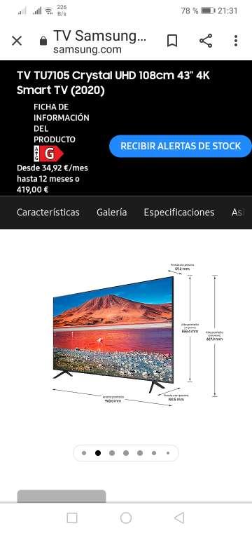 Imagen Samsung smart tv 43 ue43tu7105