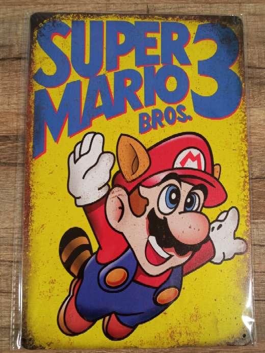 Imagen Super Mario Bros 3 placa retro vintage