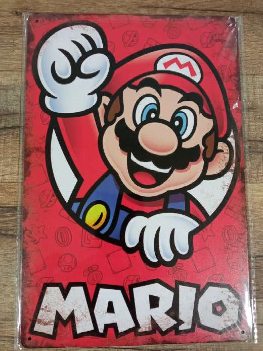 Imagen Mario Bros placa retro vintage