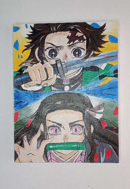 Imagen pintura en óleo Demon slayer