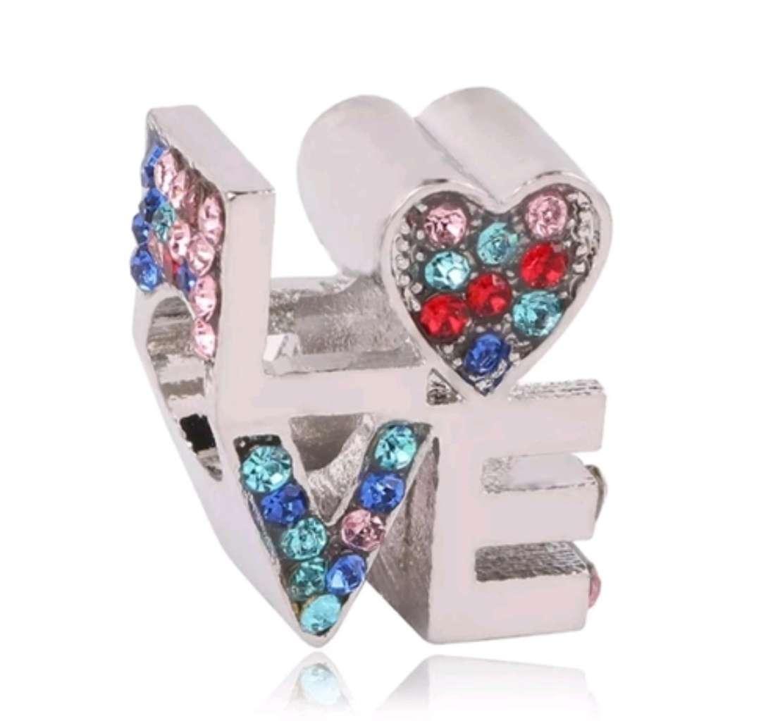 Imagen Charms - abalorio del Amor Love para pulsera de Pandora, bañado en Plata