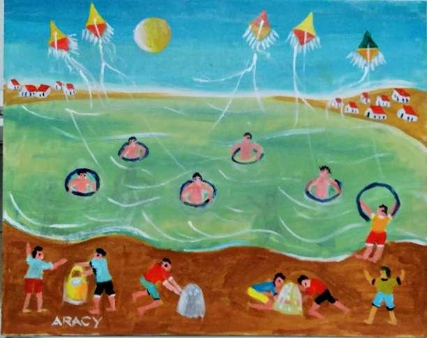 Imagen aracy tema crianças brincando na praia