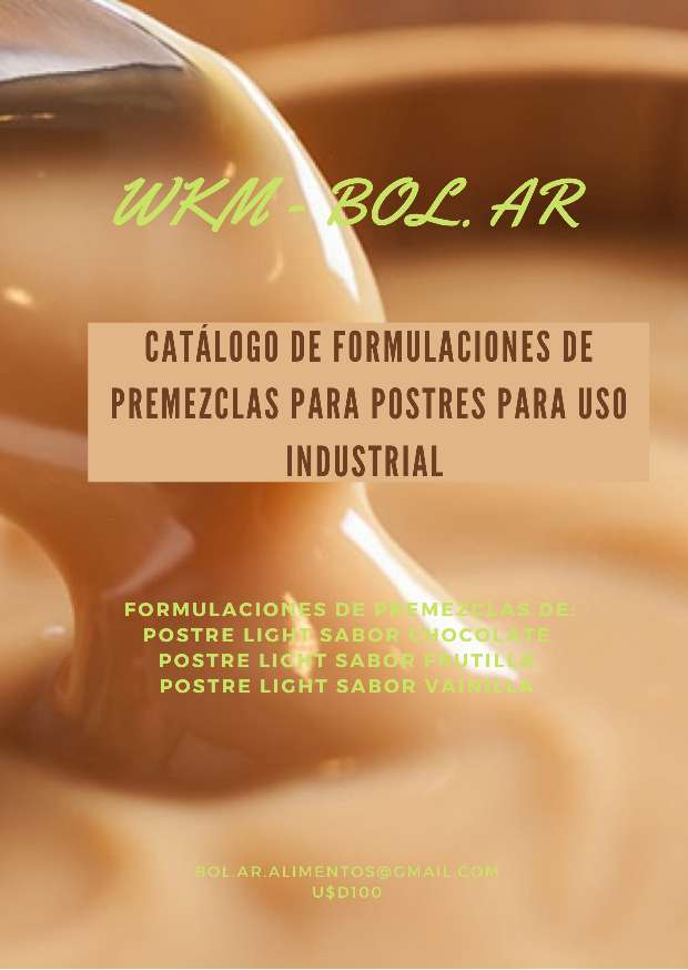 Imagen Catálogo de Formulaciones de Premezclas para Postres para uso Industrial