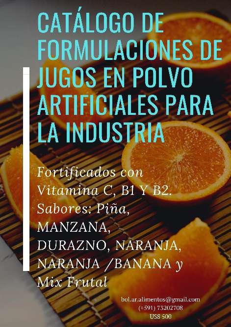 Imagen Catálogo de Formulaciones de Jugos Artificiales en Polvo Fortificados con Vitamina C, B1 Y B2 para uso Industrial