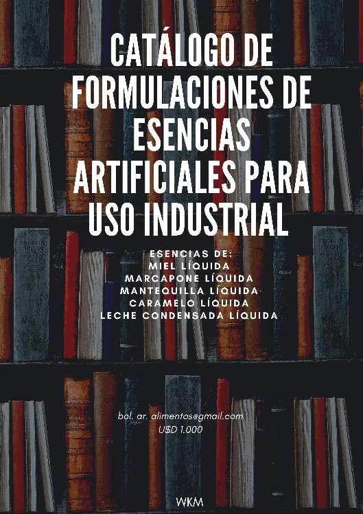 Imagen Catálogo de Formulaciones de Esencias Artificiales para uso Industrial