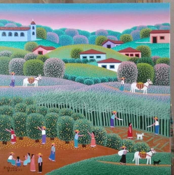 Imagen Robson barros artista naif tela medida 30x30