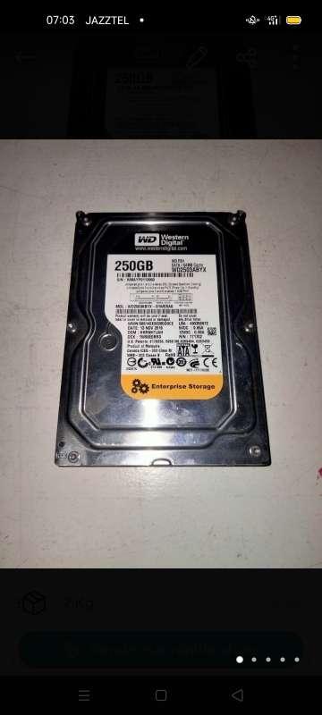 Imagen disco duro wd 250 gb sata