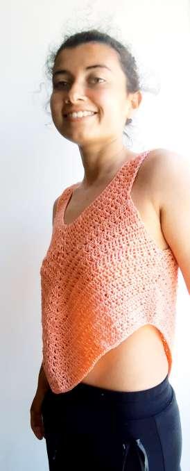 Imagen Camiseta de ganchillo color salmón