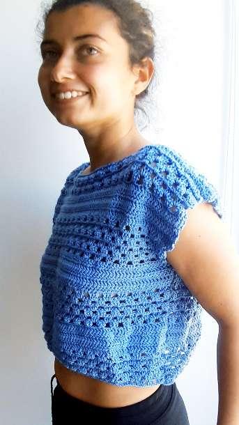 Imagen Camiseta manga caída tejida a crochet