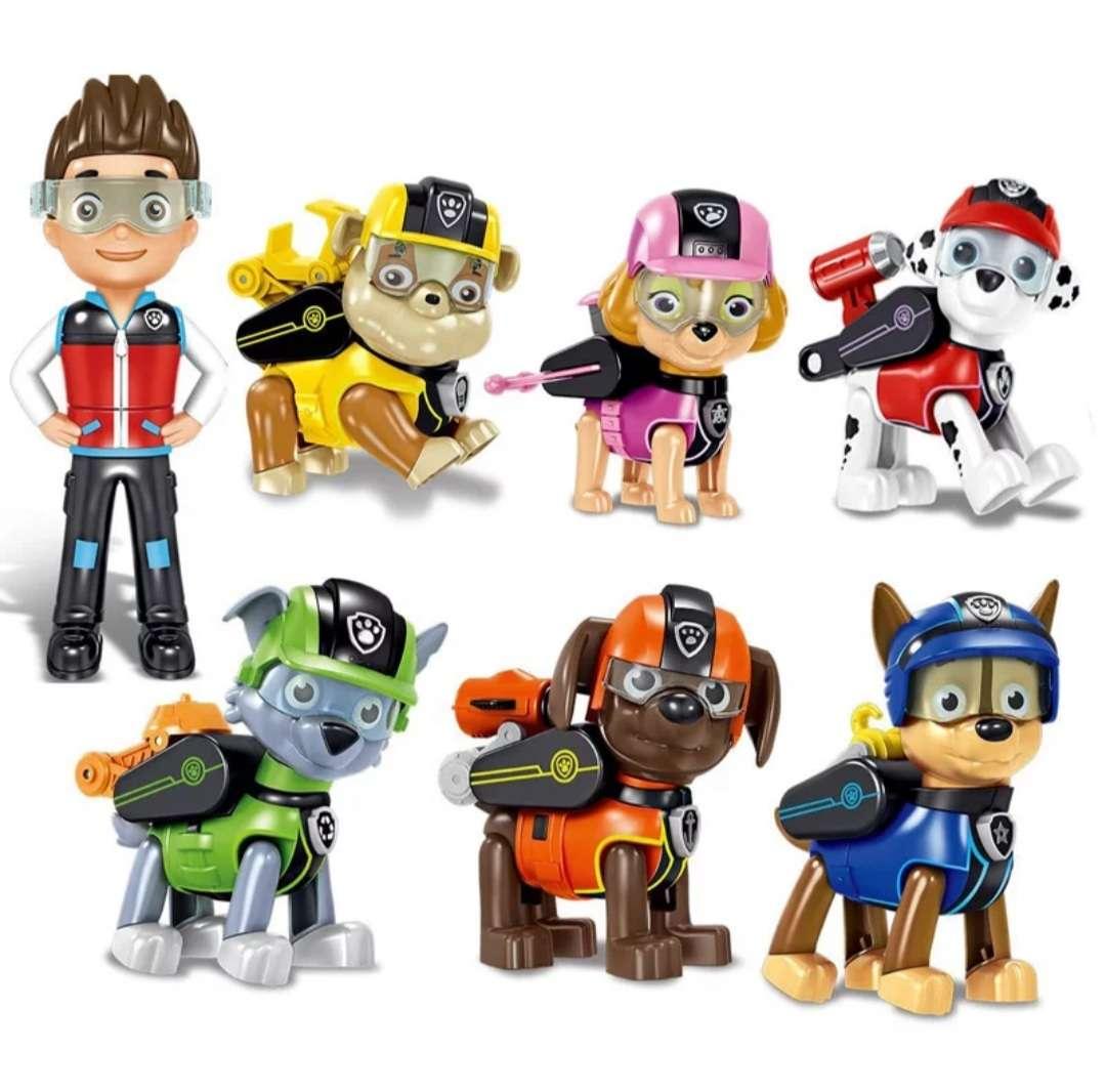 Imagen 7pcs/set Paw Patrol Deformation Puppy Toys Ryder Rubble Zuma Rocky Marshall Chase Skye Dog Action Figures Doll Toy Children Gift
