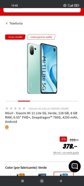 Imagen Xiaomi mi 11 lite de 5g 8/128 URGENTE