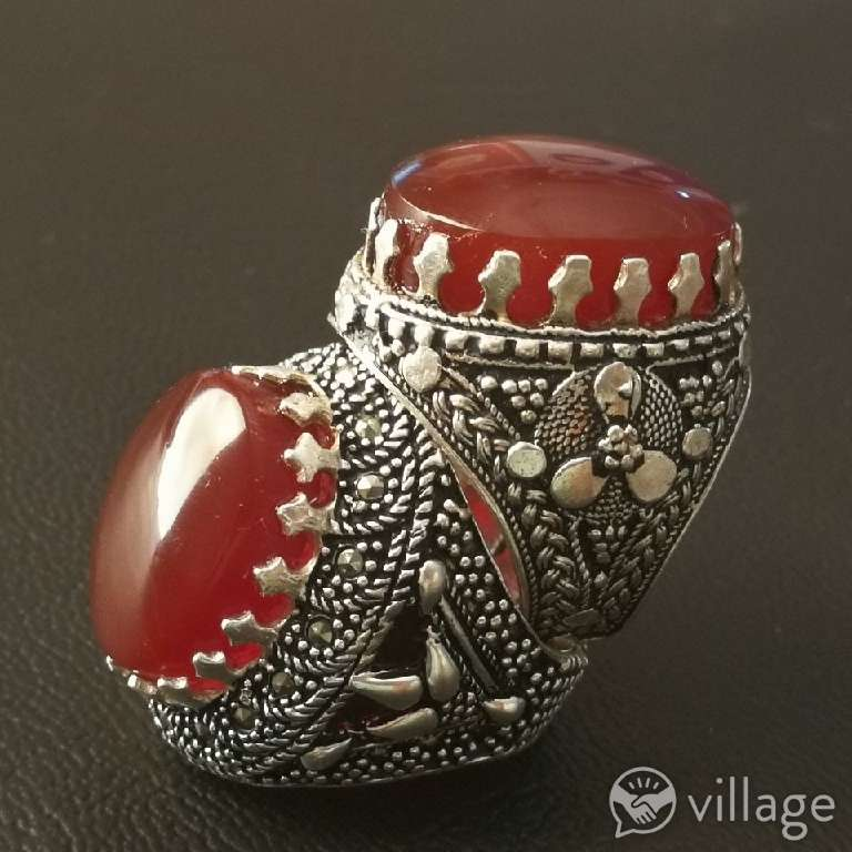 Imagen silver Ring with natural agate stones